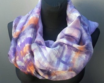 "Large hand painted abstract silk scarf in purple, white, rust, brown ""Purple Rain"". OOAK grid silk shawl. Wearable art. Gift for her."