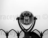 New York Black & White Photography / NYC Art Viewfinder in Fog / New York City Print / Large Wall Art