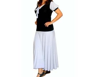 Womens dress, Custom maxi dress, V neck dress, Polka dots dress with puff sleeve and long full skirt, Plus size day dress, Custom clothing