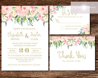 Gorgeous Floral Watercolor Invitation, Wedding Invitation Set, Watercolor Invite, Watercolor Flowers, Spring Wedding, Romantic,jadorepaperie