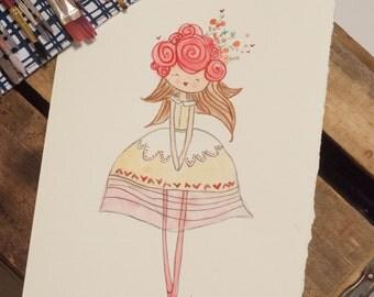 Rosie Watercolor doll painting 5x7 PRINT