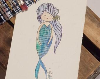 Mermaid Wren Watercolor doll painting 5x7 PRINT