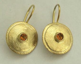 Solid Gold Citrine Earrings, gold disc earrings, November Birthstone earrings, gemstone earring, bridal earrings - Little Burgundy EG7822
