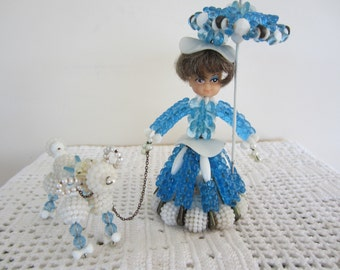 Vintage Safety Pin and Bead Doll with Poodle Blue Beads 60s Crafts