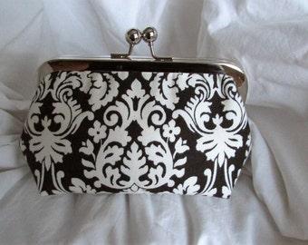 SALE Black and White Damask Print Clutch Handbag Evening Bag Bridesmaid Clutch