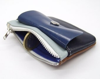 Zip purse in leather, tonal blues and tan