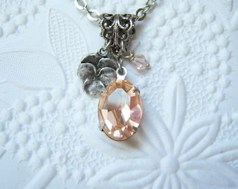 Swarovski light peach crystal pansy viola necklace - KJ406