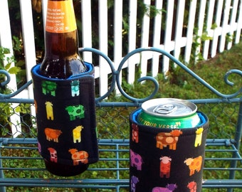 Insulated Fabric Drink Cozy in Adorable Cows
