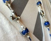 Royal Blue and Silver Airplane ID Badge Lanyard great for flight attendant pilot gate agent