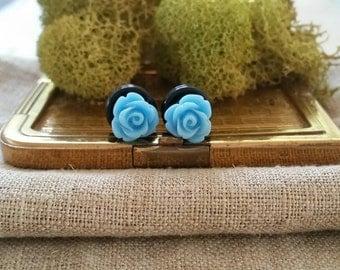 Bridal Plugs, Girly Plugs, Flower Plugs, Blue, Roses