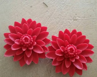 38mm Plugs, Flower Plugs, Ready To Ship, Red Mums