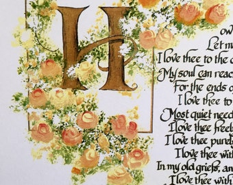 Print of Original/Valentines/How Do I Love Thee/Elizabeth Browning/Calligraphy/Print/Victorian/Yellow/Peach Roses on white