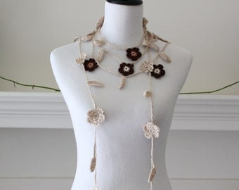 Crocheted Brown, Beige Lariat, Necklace, Scarf, Scarflette