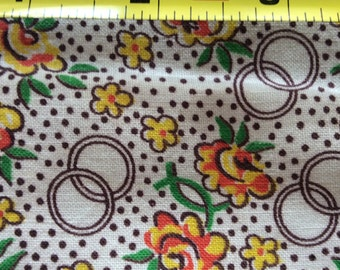 "Vintage Feed Sack Fabric 45"" x 37 Flower Sprigs, Dots & Rings on White #008D"