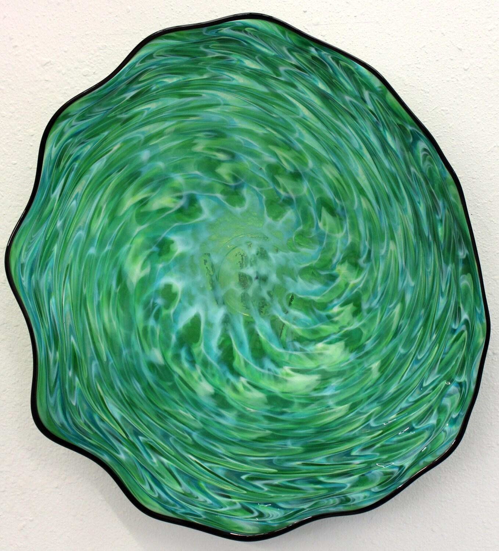 beautiful hand blown glass art wall platter bowl 6841 green. Black Bedroom Furniture Sets. Home Design Ideas