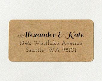 Wedding Return Address Labels, Return Address Labels, Personalized Labels, Calligraphy Address, Brown Kraft Address Labels - Design #06