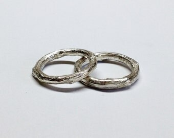 silver twig ring, wedding rings,branch tree bark rings - twig wedding bands twig rings - silver wedding rings - set of 2