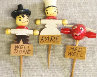 Meat Markers, Vintage, Wooden Markers, Food Prep, Cooking, Barbecue, Wooden Figures, Wooden Characters, Bull, Chef, Cowboy, Meat Stakes
