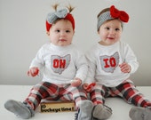 "White ""OH-IO"" Twin Set of Baby Bodysuits for twins, (or SIBLINGS), Ohio Twins"