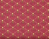 Green and Gold Diamond Design on a Deep Red Background 100% Cotton Quilt Fabric for Sale, Kim Diehl's Welcome Wagon Collection, HEG6564-88
