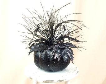 Ghost Pumpkin Centerpiece * Halloween Centerpiece * Black and Silver Centerpiece * Halloween Decoration * Halloween Pumpkin * Black Pumpkin