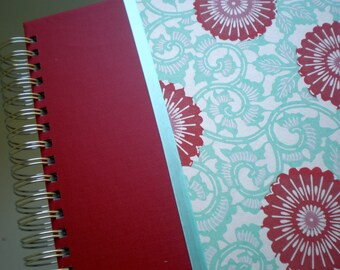 Baby Memory Book Red and Turquoise