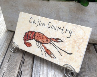 Cajun country crawfish -  tile with Stand included