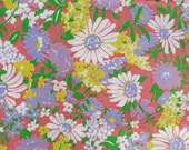 Vintage Floral Pink Fabric White Daisy By the Yard