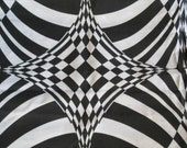 Vintage Mid Century Modern Op Art Fabric 45 inches / Mod Psychedelic Abstract Geometric / Black and White