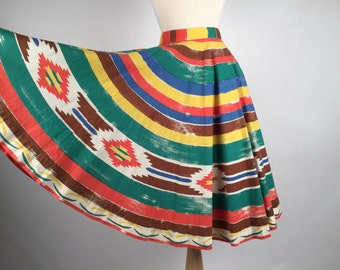 Reserved for A: Vintage 1950s Skirt, Women's Novelty Skirt, Green, Brown, Orange, Blue, Yellow, South Western Stripe, Full Circle, Cotton.