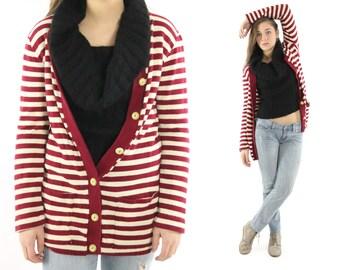 Vintage 70s Cardigan Sweater Maroon Ivory Striped Acrylic Knit Preppy Hippie Button Up 1970s Medium M