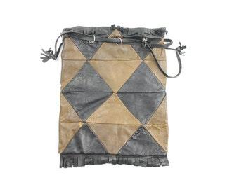 Vintage 70s Leather Handbag Fringe Black Brown Diamond Patchwork Hobo Cinch Bag Purse 1970s Hippie Boho Fashion