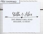 Custom Address Stamp, Return Address Stamp, DIY Wedding address stamp, Calligraphy Address Stamp, Self inking or Eco Mount stamp - Stella