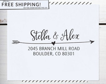 Custom Address Stamp, Return Address Stamp, DIY Wedding address stamp, Calligraphy Address Stamp, Self inking or Eco Mount stamp - Stella