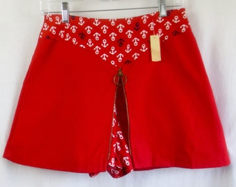 DEADSTOCK Vintage 1960'S Ruby Red Nautical Bicycle Mini Skirt Skort w/Tags-Never Worn-sz Med