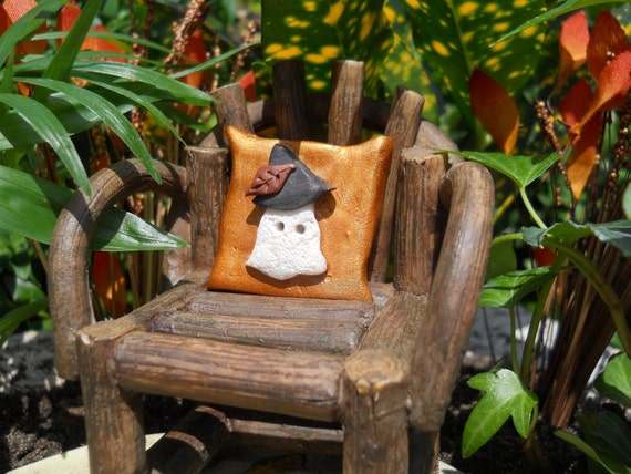 "Halloween Fairy Garden 1.25"" Square Ghost Pillow (Resin) Chair not incl."