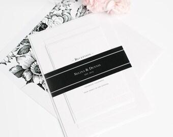 Boxed Monogram Wedding Invitation - Black and White Floral Wedding Invites - Traditional, Elegant, Classic Wedding Invitations - Deposit