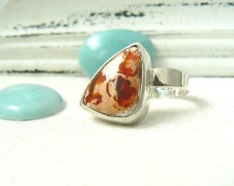 Sterling silver and Mexican Fire Opal Ring - jewelry cabochon gemstone 925 - Size 8 - READY TO SHIP