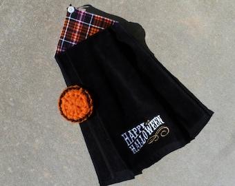 "Halloween Kitchen Towel - Black with ""Happy Halloween"" and Halloween Plaid"