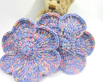 Periwinkle Pastel Flower Pot Holders, Crochet Flower Trivets, Hot Pads for Mother's Day, Spring Decor for Kitchen, Table Decor, ON SALE