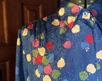 1980s Silky blue James Kenrob by Dalton blouse Leaves