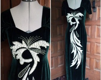 Dark Green Velvet Beaded Gown