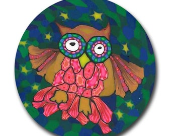 Winking Owl Polymer Clay Cane Silly Milly -Small