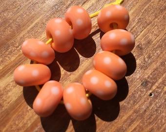 Pastel Orange Polkas Lampwork Beads, SRA, UK Seller, UK Lampwork
