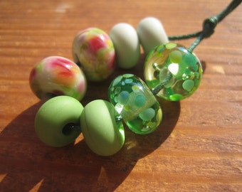 Perfect Pairs, Green Lampwork Glass Beads, Earrings Pairs, SRA, UK Seller, UK Lampwork