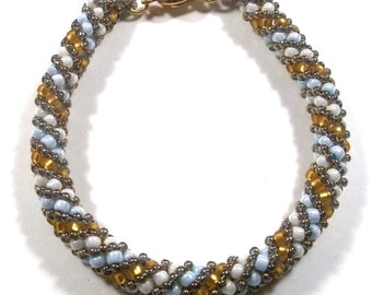 Russian Spiral Beaded Woven Bracelet in Sky Blue White and Amber