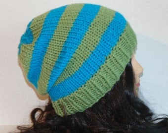 Men's Hand Knitted Striped Beanie Hat, Teal Blue and Sage Green Hat, Men's Accessories, Woman's Accessories