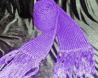 Purple Ribbed Scarf with Fringes, Chunky Scarf, Long Ribbed Scarf, Winter Scarf, Fringed Scarf