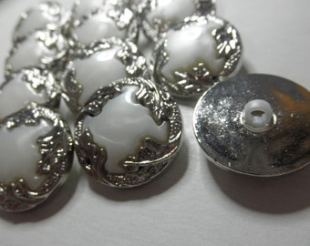 12 Silver Tone and White Snap Together  Buttons -1 inch- SHINEY Metalized Plastic - Jewelry - Collage or Collection
