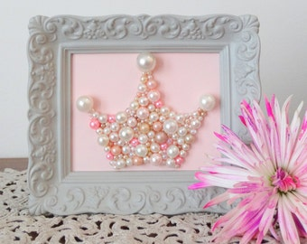Princess Crown Mosaic Art.  Pastel Pearl Pink Picture.  Crown Wall Art. Glitter Girl Nursery Framed Art Tiara.  Grey, Gray, Pink Wall Decor